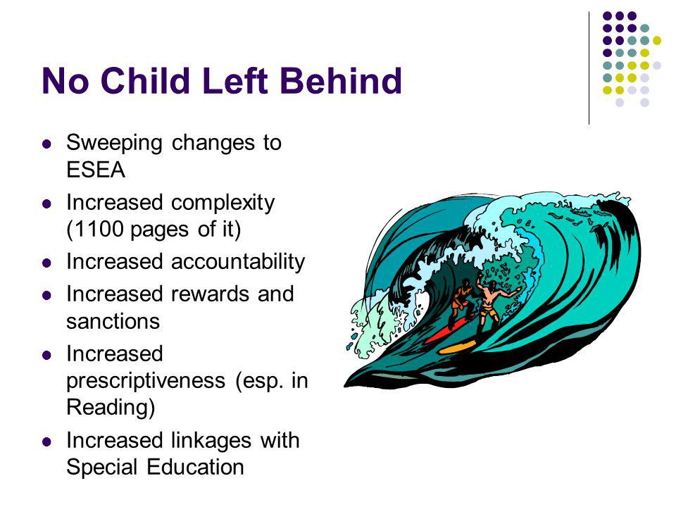 No Child Left Behind Sweeping changes to ESEA Increased complexity (1100 pages of it) Increased accountability Increased rewards and sanctions Increased prescriptiveness (esp.