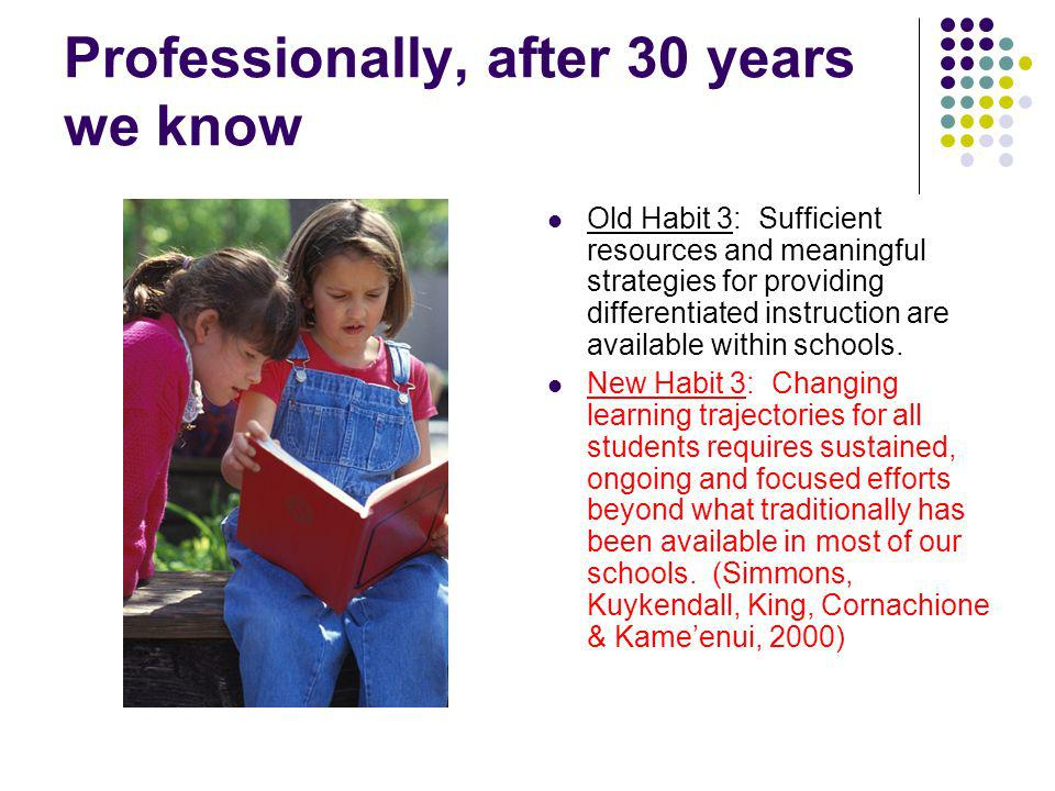 Professionally, after 30 years we know Old Habit 3: Sufficient resources and meaningful strategies for providing differentiated instruction are available within schools.