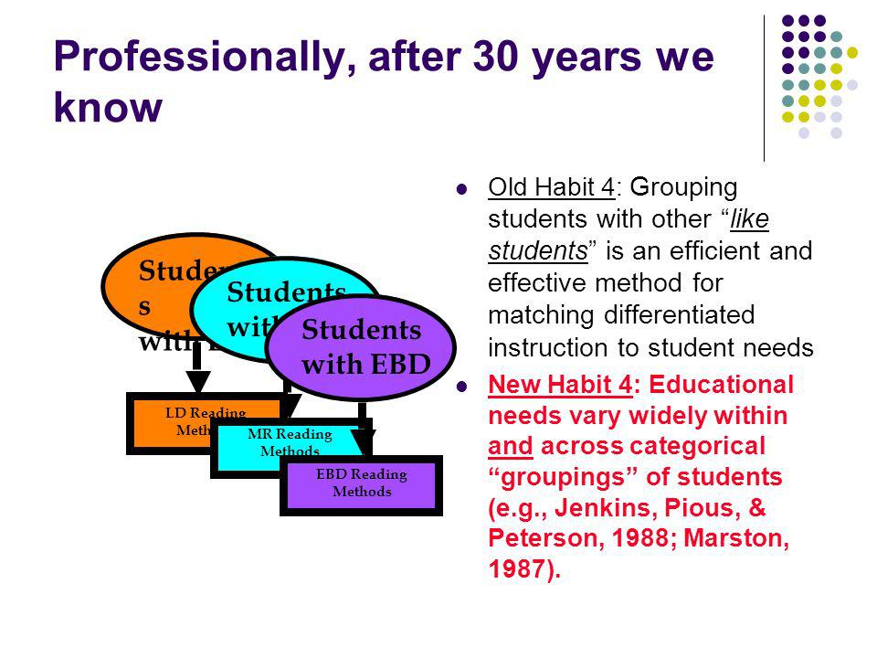 Professionally, after 30 years we know Old Habit 4: Grouping students with other like students is an efficient and effective method for matching differentiated instruction to student needs New Habit 4: Educational needs vary widely within and across categorical groupings of students (e.g., Jenkins, Pious, & Peterson, 1988; Marston, 1987).