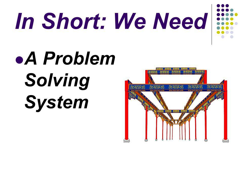 In Short: We Need A Problem Solving System