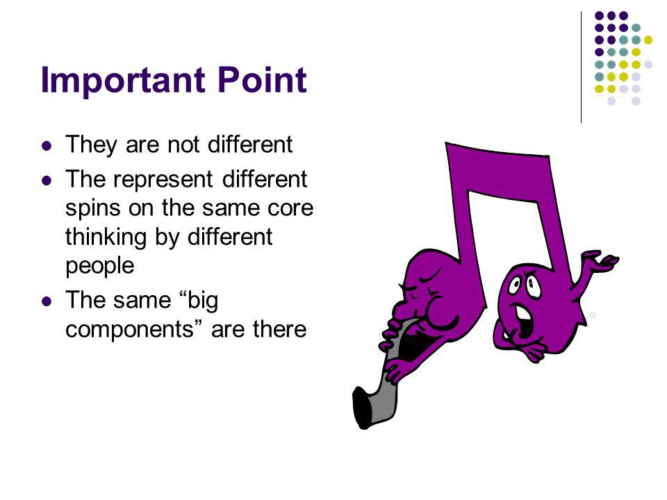 Important Point They are not different The represent different spins on the same core thinking by different people The same big components are there