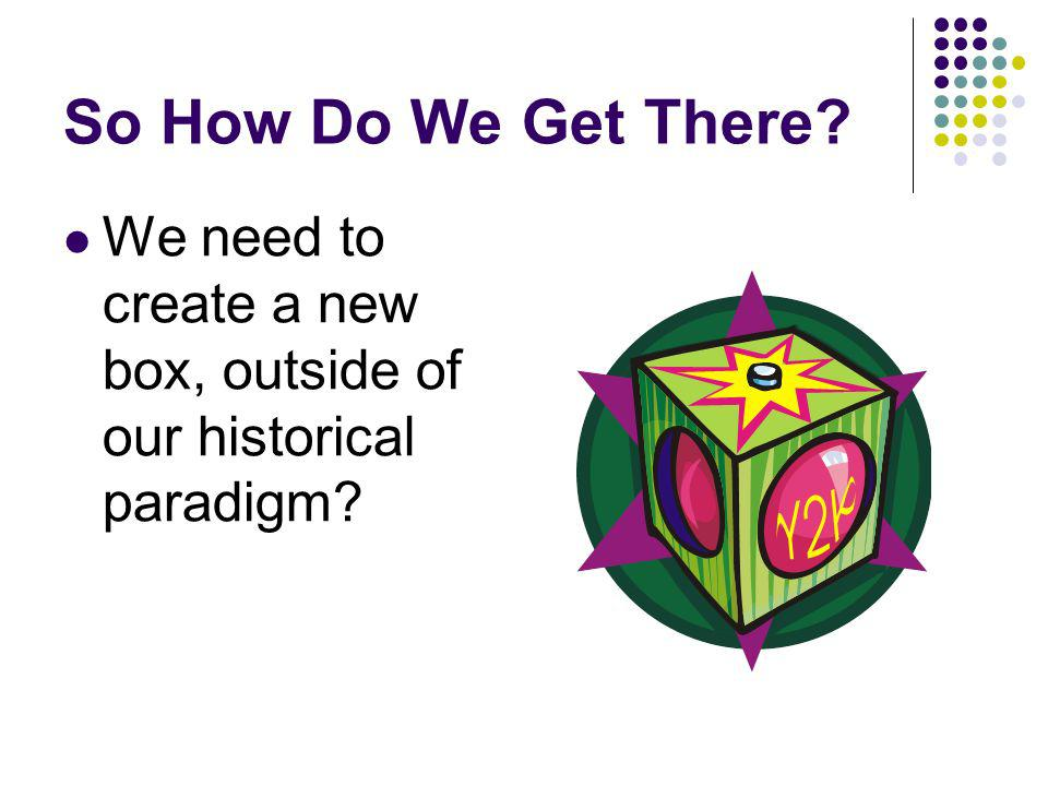 So How Do We Get There We need to create a new box, outside of our historical paradigm