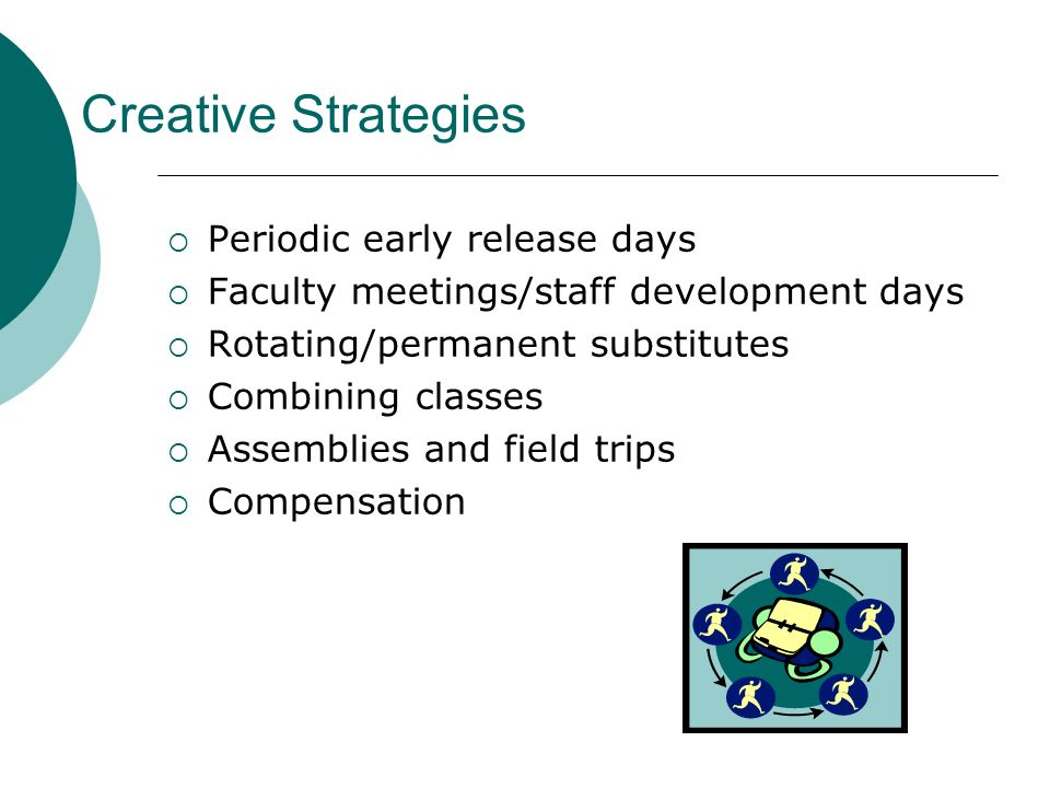 Creative Strategies Periodic early release days Faculty meetings/staff development days Rotating/permanent substitutes Combining classes Assemblies an