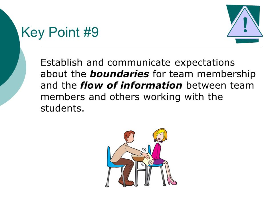 Key Point #9 Establish and communicate expectations about the boundaries for team membership and the flow of information between team members and othe