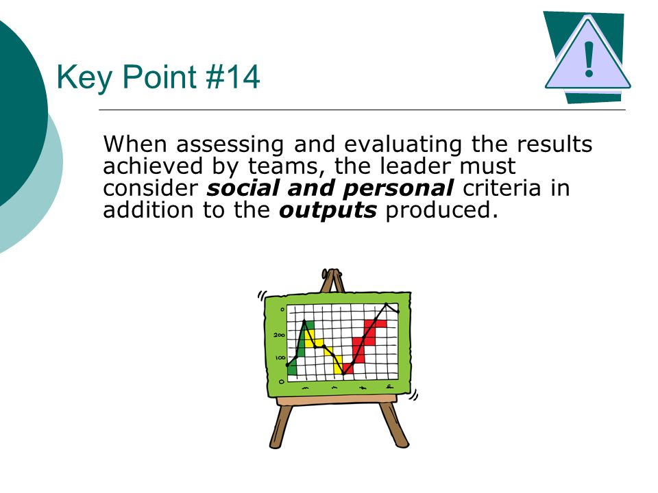 Key Point #14 When assessing and evaluating the results achieved by teams, the leader must consider social and personal criteria in addition to the ou