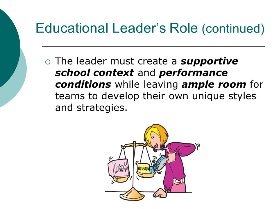 Educational Leaders Role (continued) The leader must create a supportive school context and performance conditions while leaving ample room for teams
