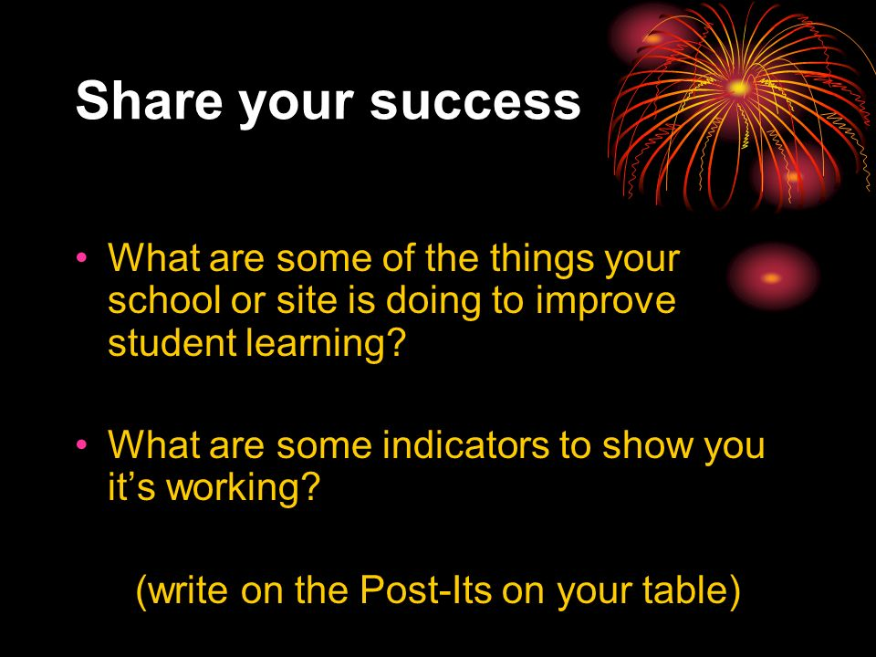 Share your success What are some of the things your school or site is doing to improve student learning.