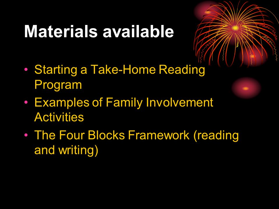 Materials available Starting a Take-Home Reading Program Examples of Family Involvement Activities The Four Blocks Framework (reading and writing)