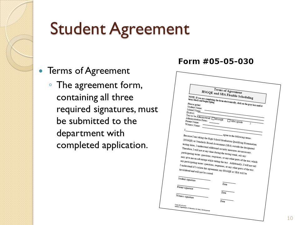 Student Agreement Terms of Agreement The agreement form, containing all three required signatures, must be submitted to the department with completed