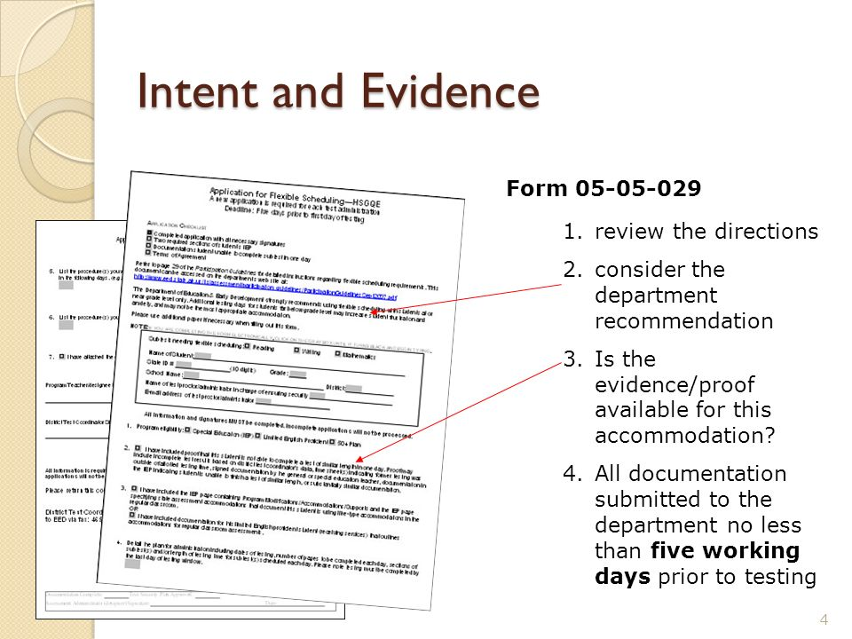 Intent and Evidence 4 1.review the directions 2.consider the department recommendation 3.Is the evidence/proof available for this accommodation? 4.All