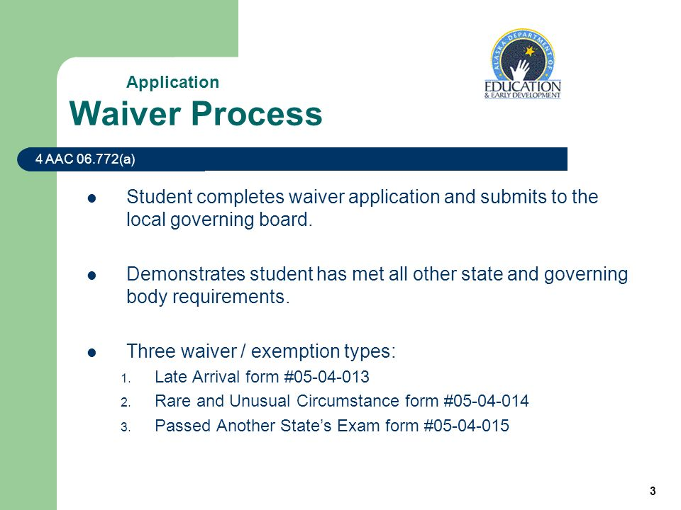 3 Waiver Process Student completes waiver application and submits to the local governing board.