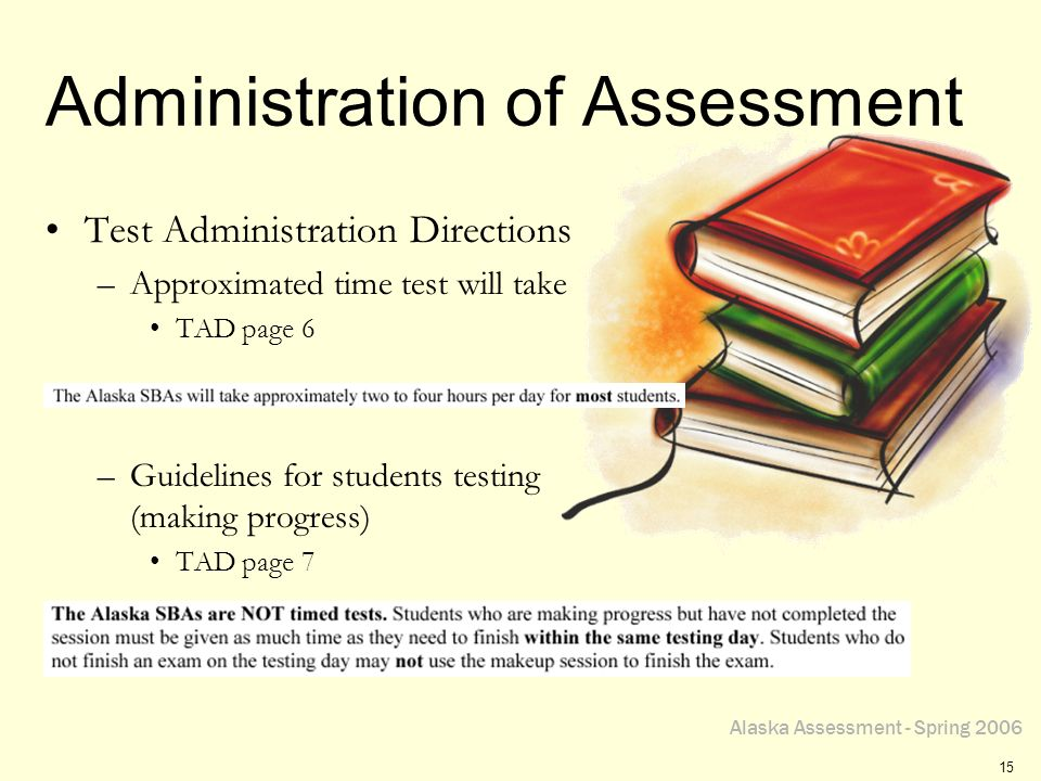 Alaska Assessment - Spring 2006 15 Administration of Assessment Test Administration Directions –Approximated time test will take TAD page 6 –Guidelines for students testing (making progress) TAD page 7