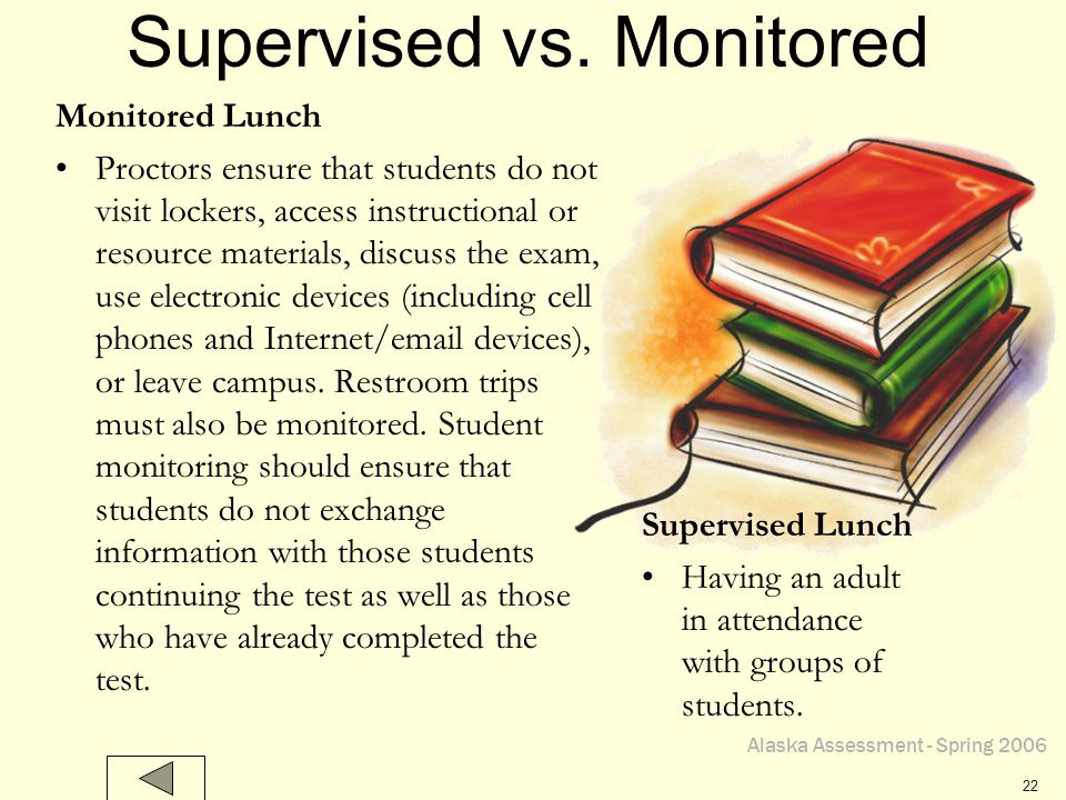 Alaska Assessment - Spring 2006 22 Supervised vs. Monitored Supervised Lunch Having an adult in attendance with groups of students. Monitored Lunch Pr