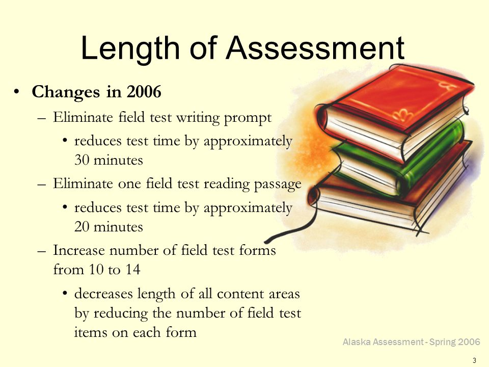 Alaska Assessment - Spring 2006 3 Length of Assessment Changes in 2006 –Eliminate field test writing prompt reduces test time by approximately 30 minu