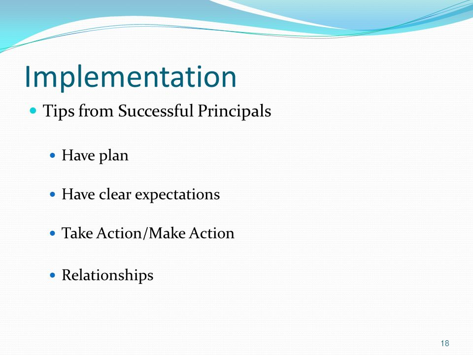 Implementation Tips from Successful Principals Have plan Have clear expectations Take Action/Make Action Relationships 18