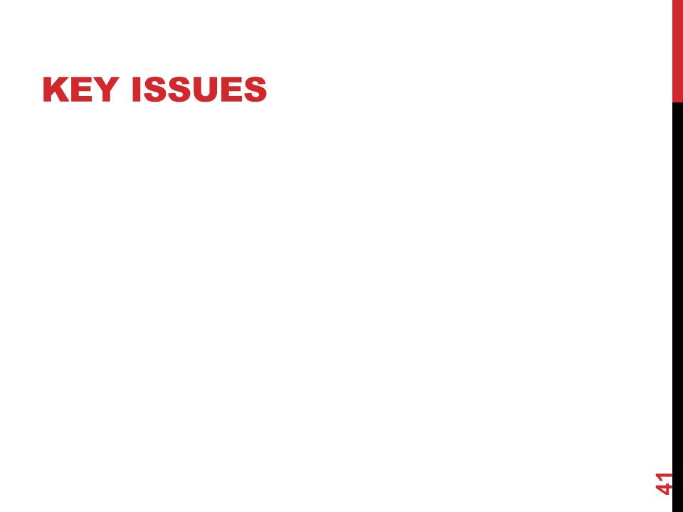 KEY ISSUES 41