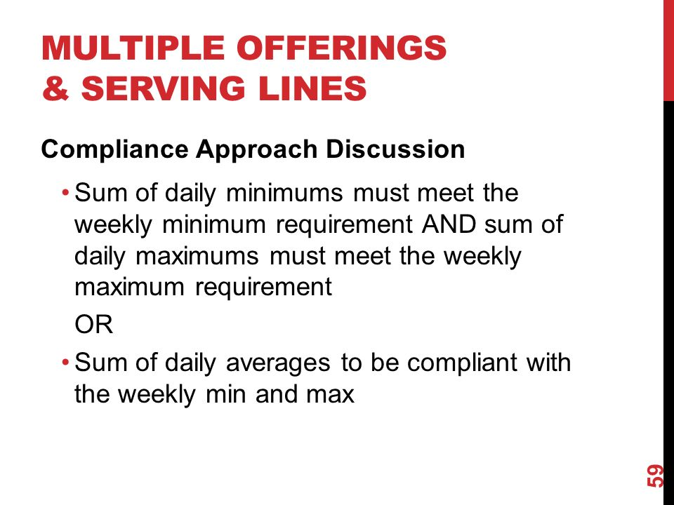 MULTIPLE OFFERINGS & SERVING LINES Compliance Approach Discussion Sum of daily minimums must meet the weekly minimum requirement AND sum of daily maximums must meet the weekly maximum requirement OR Sum of daily averages to be compliant with the weekly min and max 59