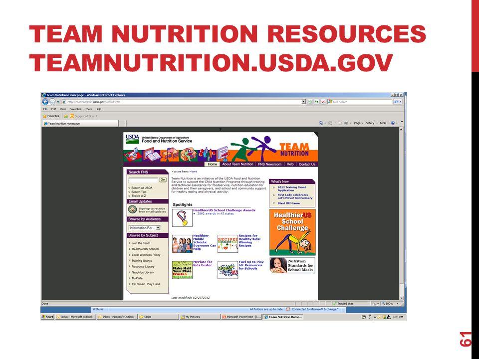 TEAM NUTRITION RESOURCES TEAMNUTRITION.USDA.GOV 61