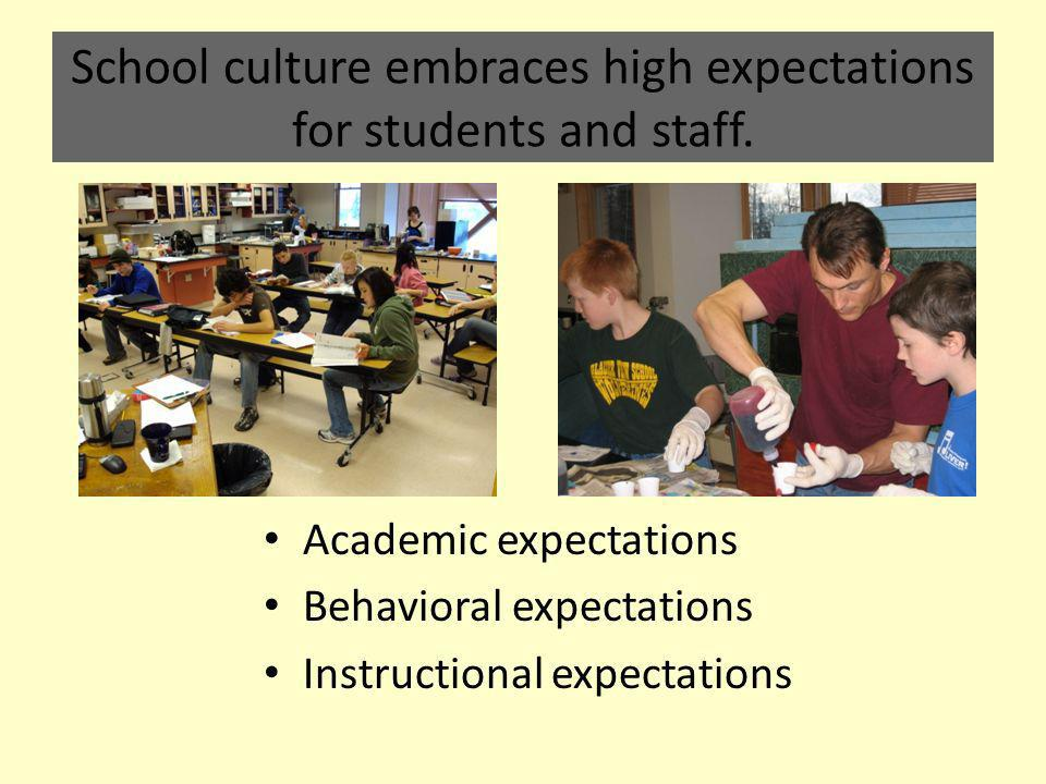 School culture embraces high expectations for students and staff.