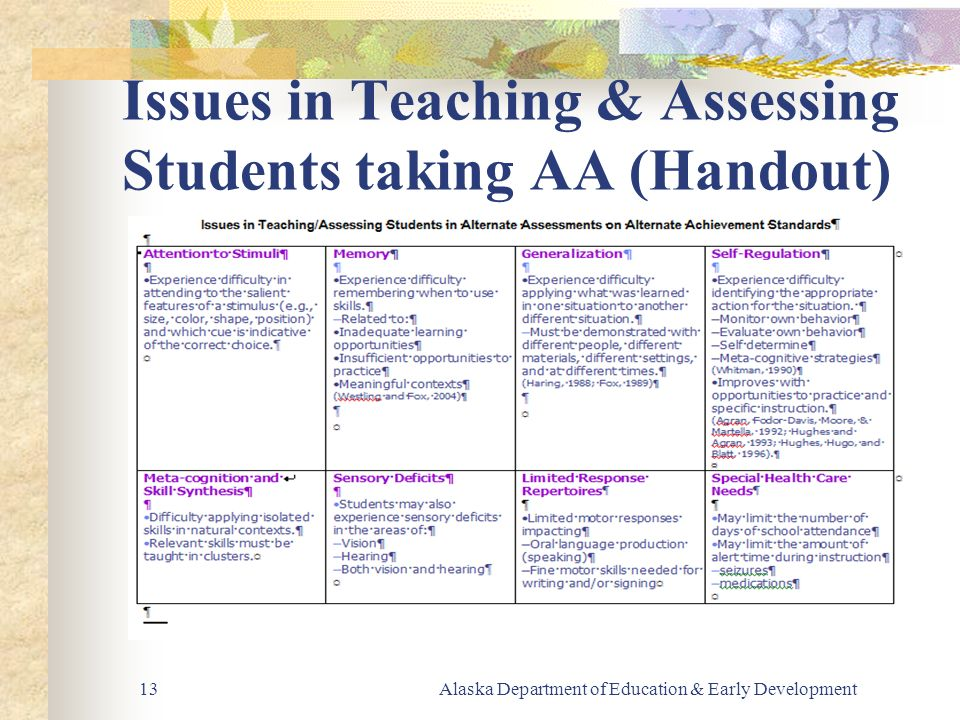 Alaska Department of Education & Early Development13 Issues in Teaching & Assessing Students taking AA (Handout)