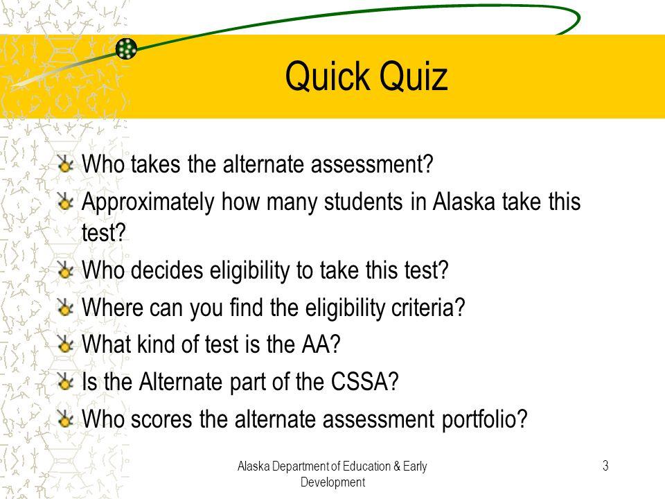 Alaska Department of Education & Early Development 44 Look in ExGLE Handbook–(Handout)