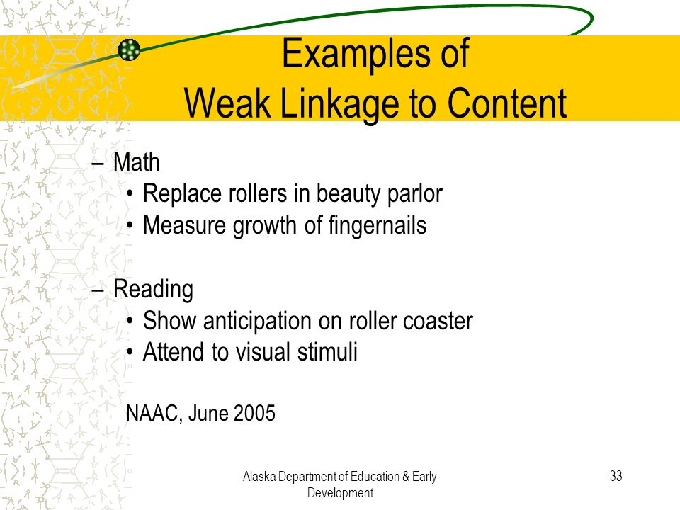 Alaska Department of Education & Early Development 33 Examples of Weak Linkage to Content –Math Replace rollers in beauty parlor Measure growth of fin