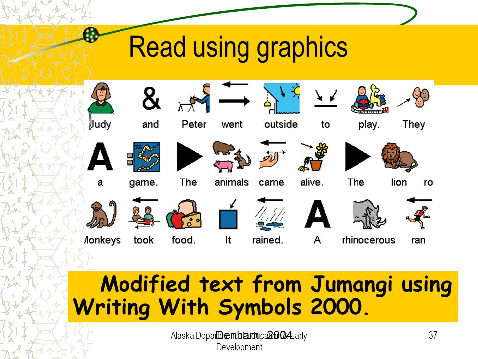 Alaska Department of Education & Early Development 37 Modified text from Jumangi using Writing With Symbols 2000. Read using graphics Denham, 2004