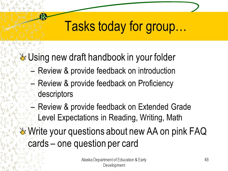 Alaska Department of Education & Early Development 48 Tasks today for group… Using new draft handbook in your folder –Review & provide feedback on int