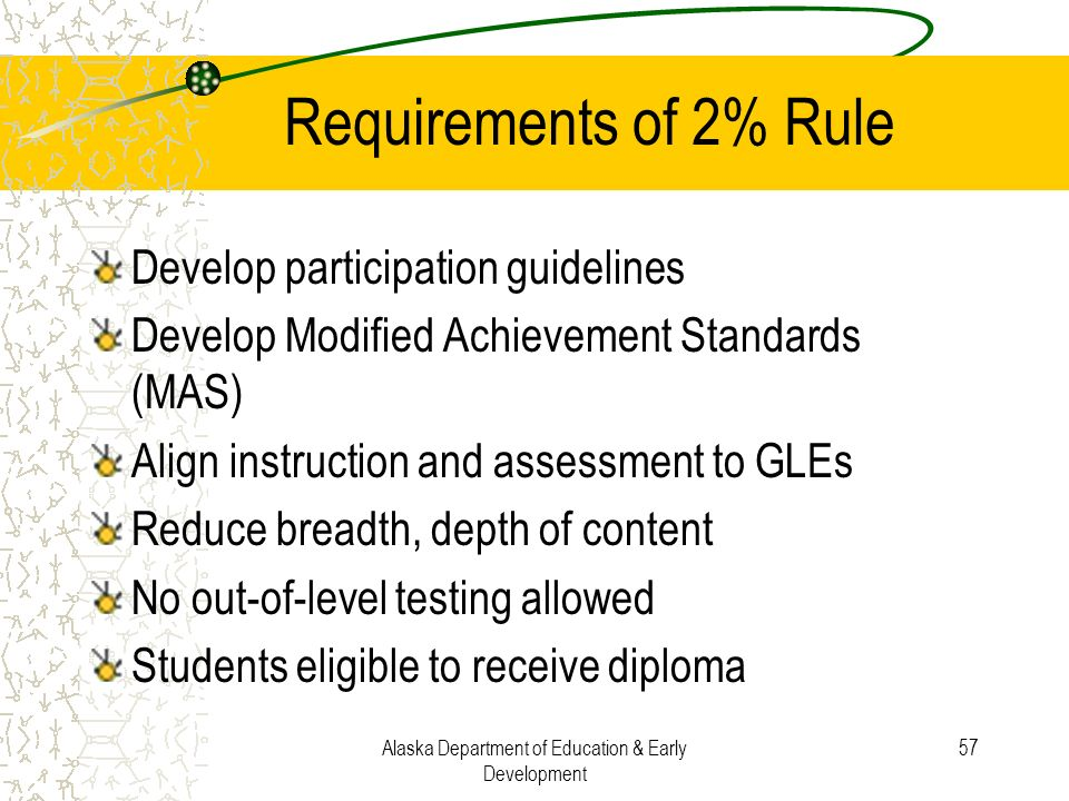 Alaska Department of Education & Early Development 57 Requirements of 2% Rule Develop participation guidelines Develop Modified Achievement Standards