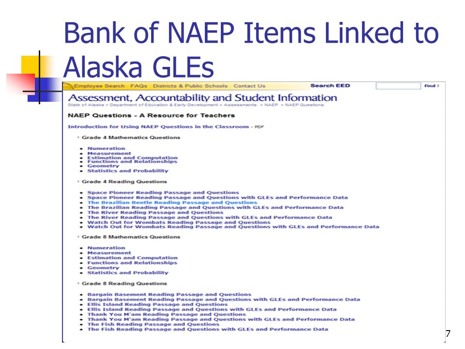 Part I: Introduction to Using Assessment Items17 Bank of NAEP Items Linked to Alaska GLEs