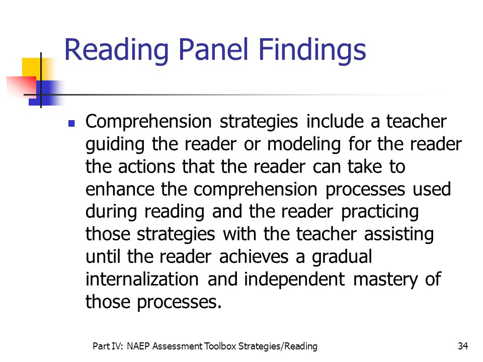 Part IV: NAEP Assessment Toolbox Strategies/Reading34 Reading Panel Findings Comprehension strategies include a teacher guiding the reader or modeling