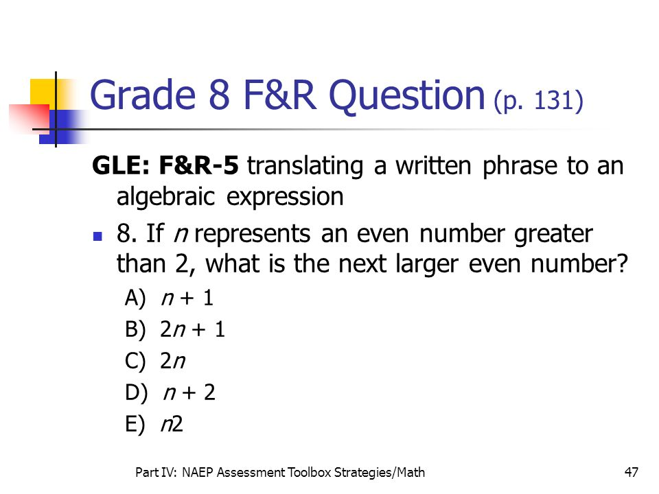 Part IV: NAEP Assessment Toolbox Strategies/Math47 Grade 8 F&R Question (p. 131) GLE: F&R-5 translating a written phrase to an algebraic expression 8.