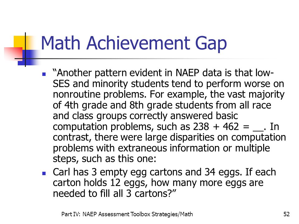 Part IV: NAEP Assessment Toolbox Strategies/Math52 Math Achievement Gap Another pattern evident in NAEP data is that low- SES and minority students te