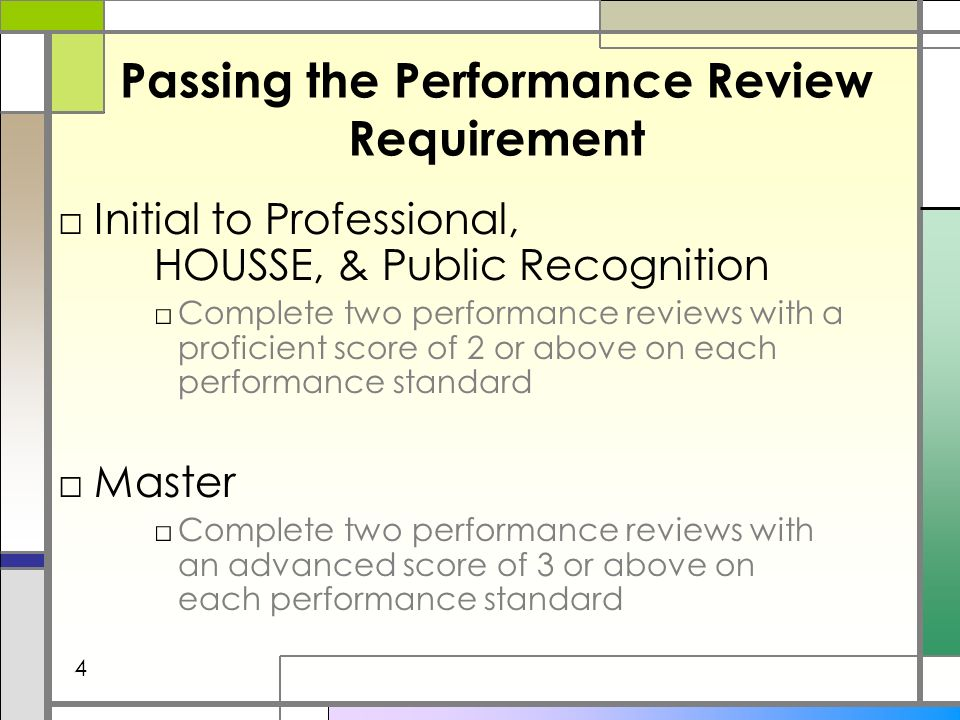 Passing the Performance Review Requirement Initial to Professional, HOUSSE, & Public Recognition Complete two performance reviews with a proficient score of 2 or above on each performance standard Master Complete two performance reviews with an advanced score of 3 or above on each performance standard 4