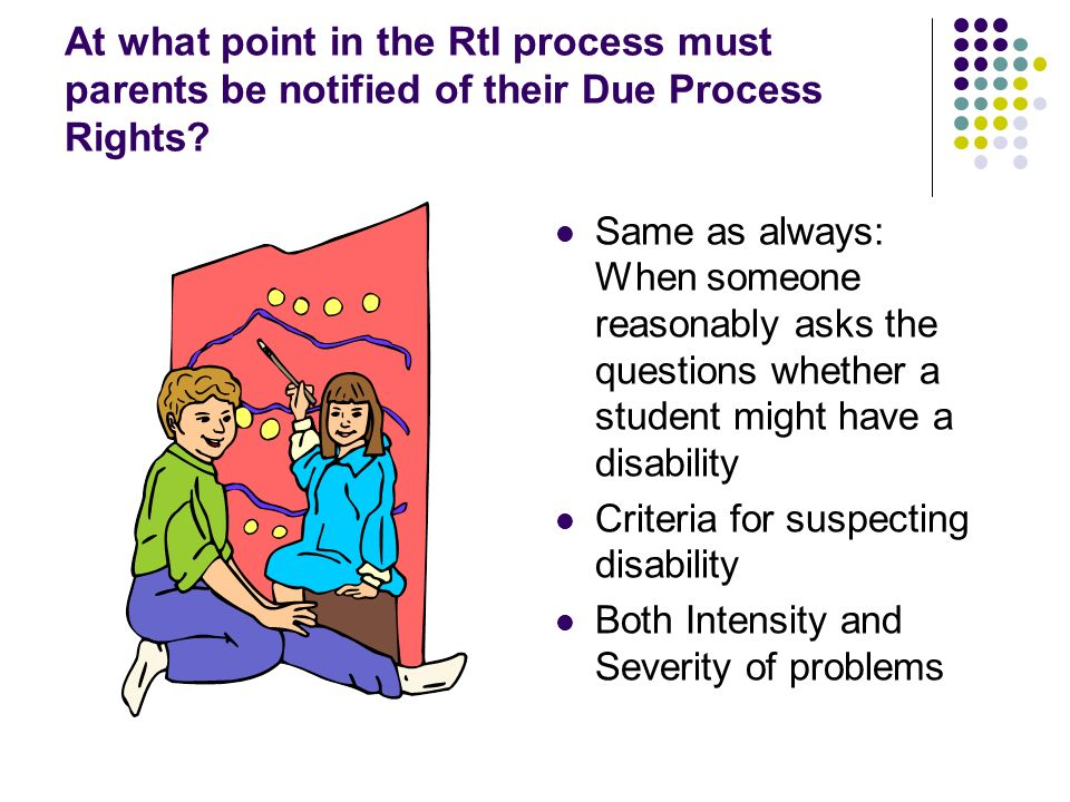 At what point in the RtI process must parents be notified of their Due Process Rights.