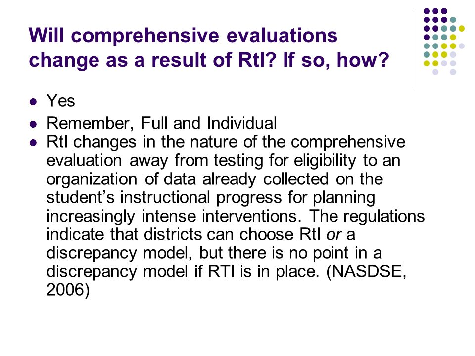 Possible Systems RtI Not RtI Categorical Noncategorical Yes Probably Not Given new Regs, it is unclear What not Rti Is and if thats possible.