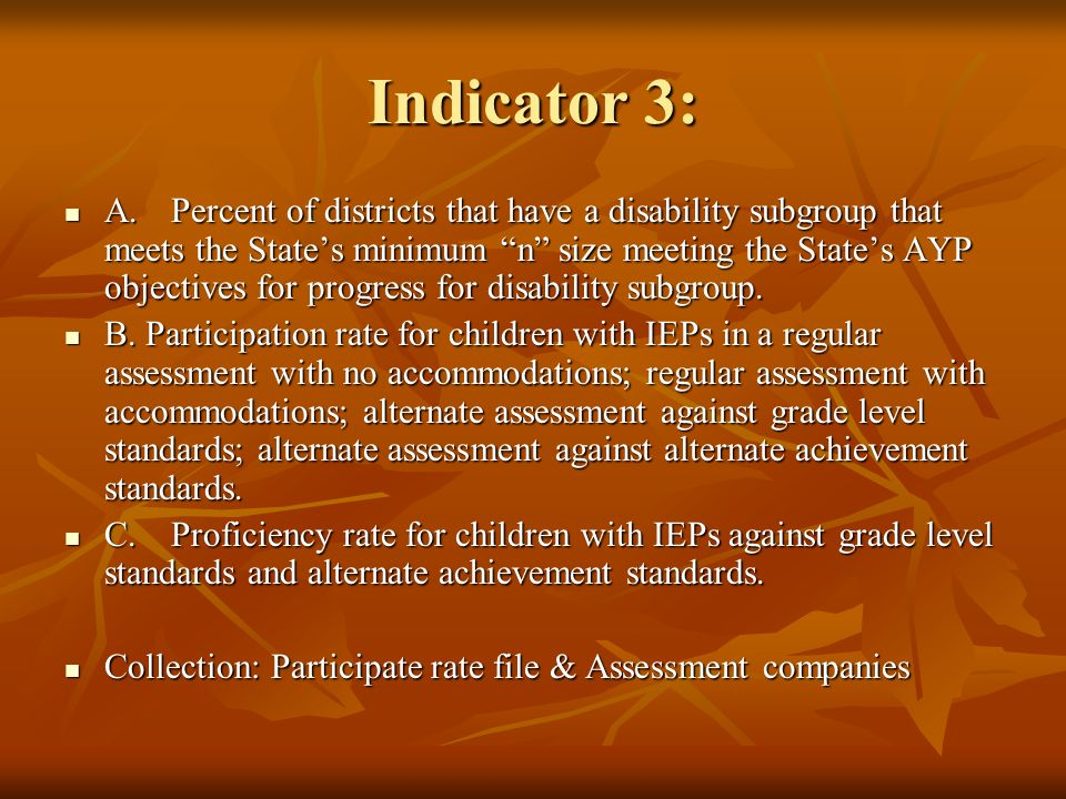 Indicator 3: A.Percent of districts that have a disability subgroup that meets the States minimum n size meeting the States AYP objectives for progres