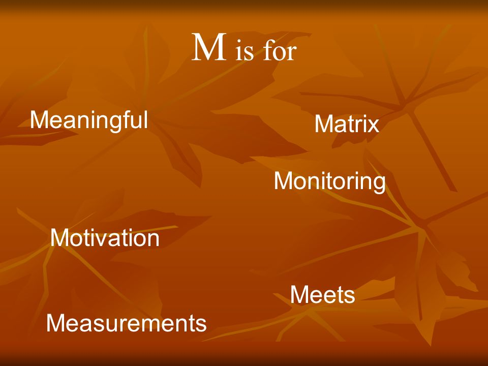 M is for Meaningful Measurements Monitoring Motivation Meets Matrix