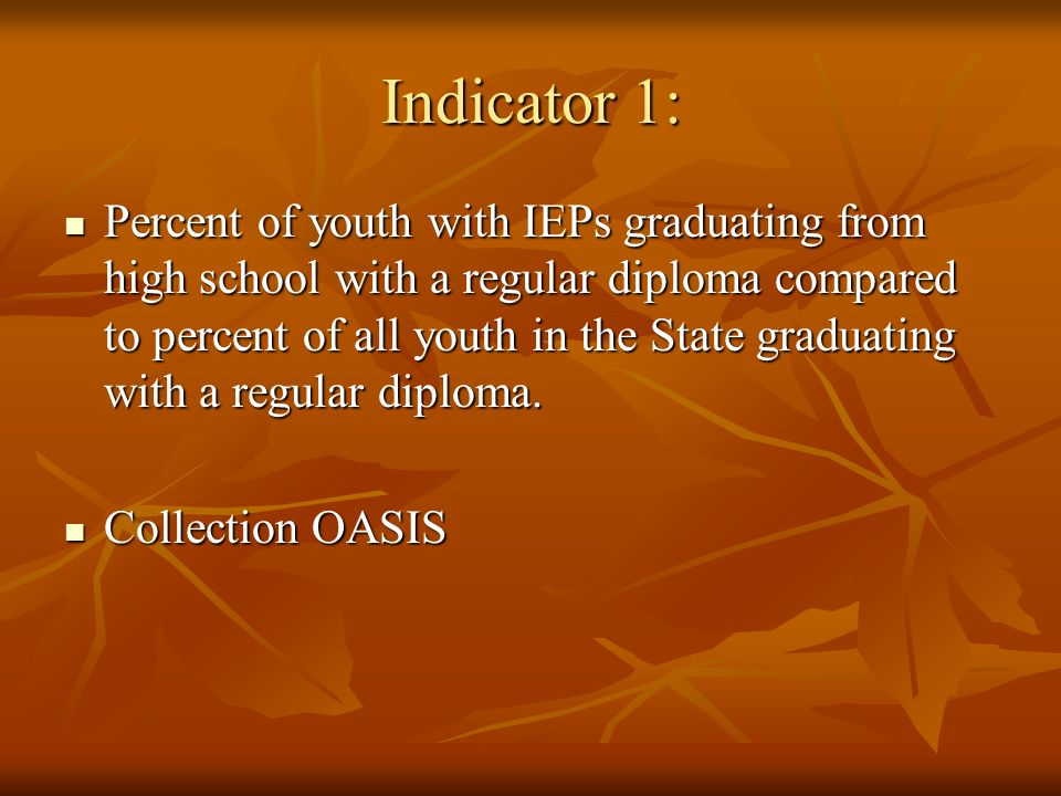 Indicator 1: Percent of youth with IEPs graduating from high school with a regular diploma compared to percent of all youth in the State graduating with a regular diploma.