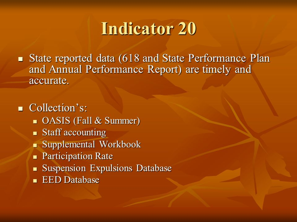 Indicator 20 State reported data (618 and State Performance Plan and Annual Performance Report) are timely and accurate.