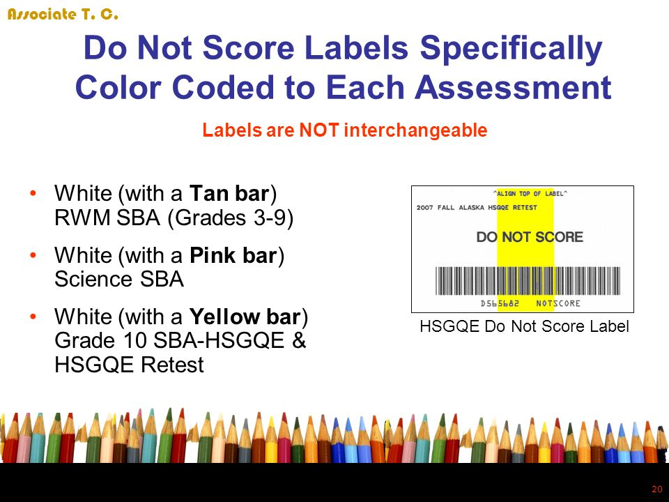 20 Do Not Score Labels Specifically Color Coded to Each Assessment White (with a Tan bar) RWM SBA (Grades 3-9) White (with a Pink bar) Science SBA White (with a Yellow bar) Grade 10 SBA-HSGQE & HSGQE Retest HSGQE Do Not Score Label Labels are NOT interchangeable Associate T.
