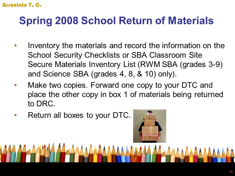 28 Spring 2008 School Return of Materials Inventory the materials and record the information on the School Security Checklists or SBA Classroom Site Secure Materials Inventory List (RWM SBA (grades 3-9) and Science SBA (grades 4, 8, & 10) only).