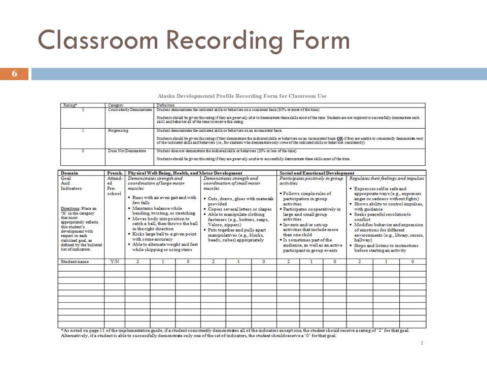 Classroom Recording Form 6