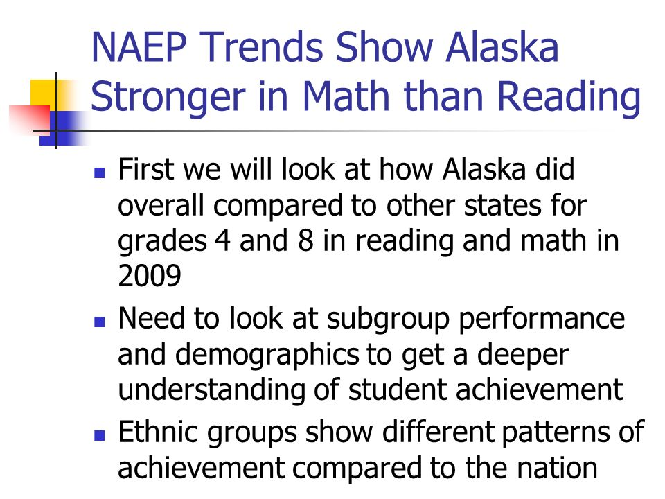 Alaska NAEP Scores Weakest for Grade 4 Reading Green states had higher scores than Alaska.