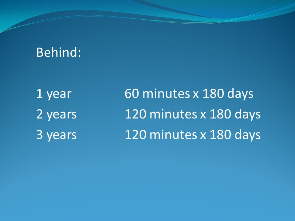 Behind: 1 year60 minutes x 180 days 2 years 120 minutes x 180 days 3 years120 minutes x 180 days