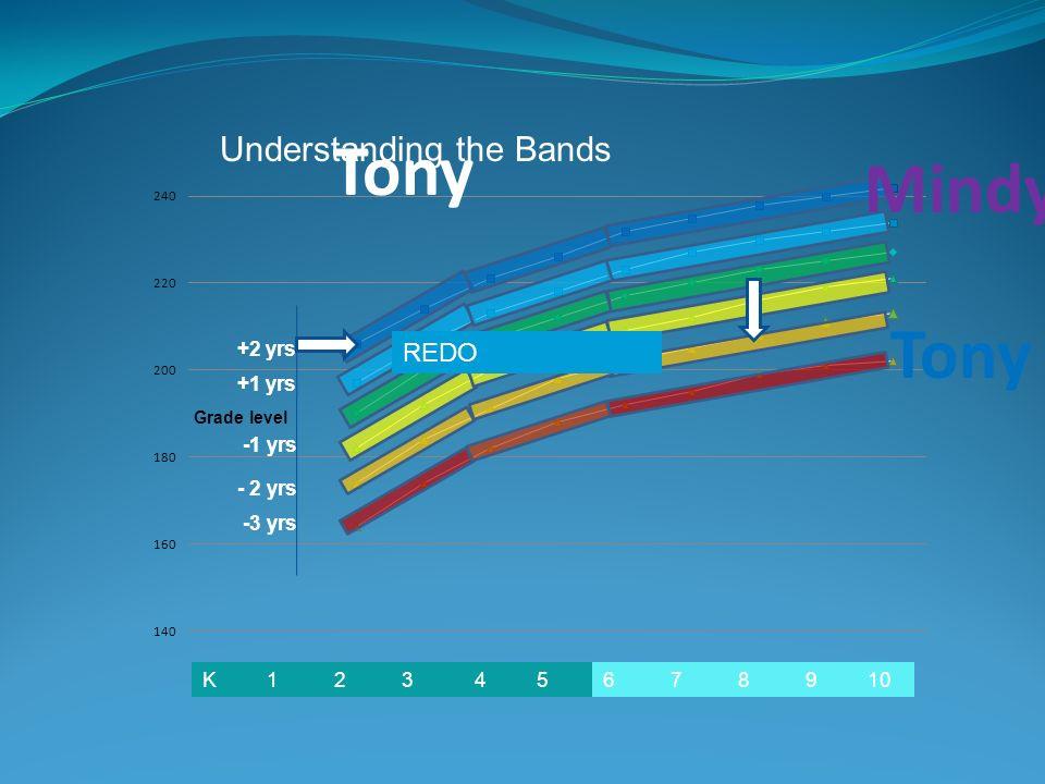 6 7 8 9 10K 1 2 3 4 5 +2 yrs +1 yrs -1 yrs - 2 yrs -3 yrs Grade level REDO Understanding the Bands Mindy Tony