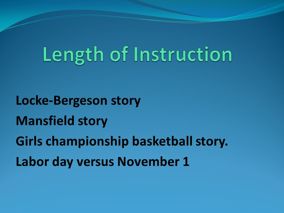 Locke-Bergeson story Mansfield story Girls championship basketball story. Labor day versus November 1