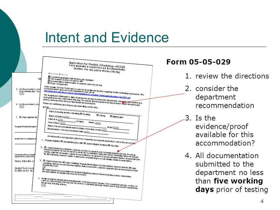 4 Intent and Evidence 1.review the directions 2.consider the department recommendation 3.Is the evidence/proof available for this accommodation.