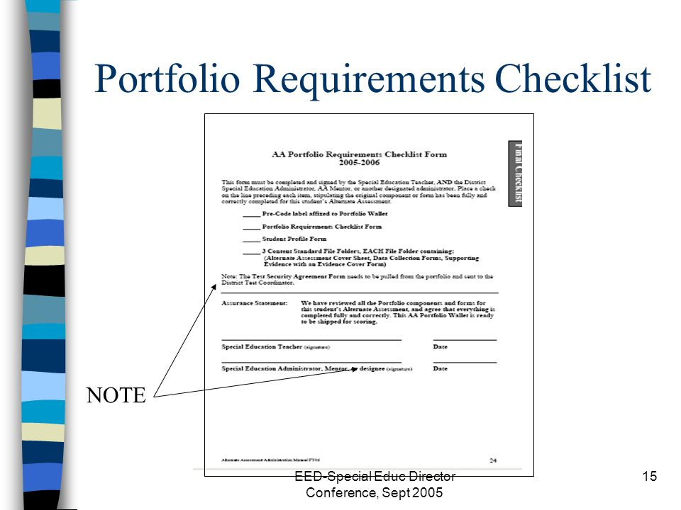EED-Special Educ Director Conference, Sept 2005 15 Portfolio Requirements Checklist NOTE