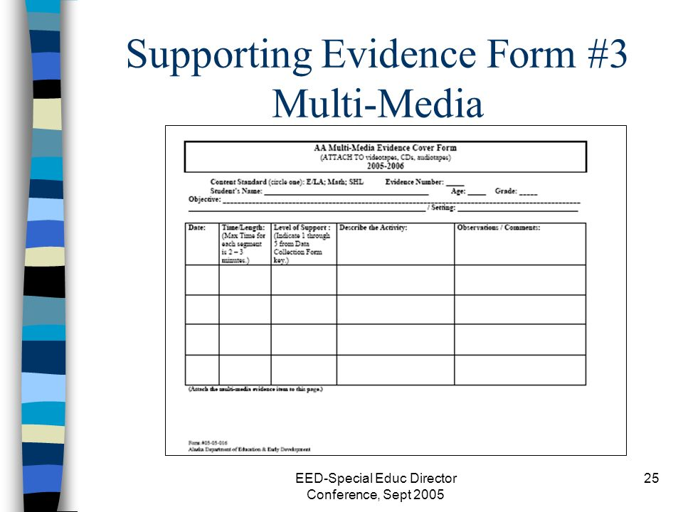 EED-Special Educ Director Conference, Sept 2005 25 Supporting Evidence Form #3 Multi-Media